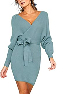 f5db108e4c8 JOYCHEER Womens Sweater Dresses Sexy V Neck Backless Long Batwing Sleeves  Mini Bodycon Dress