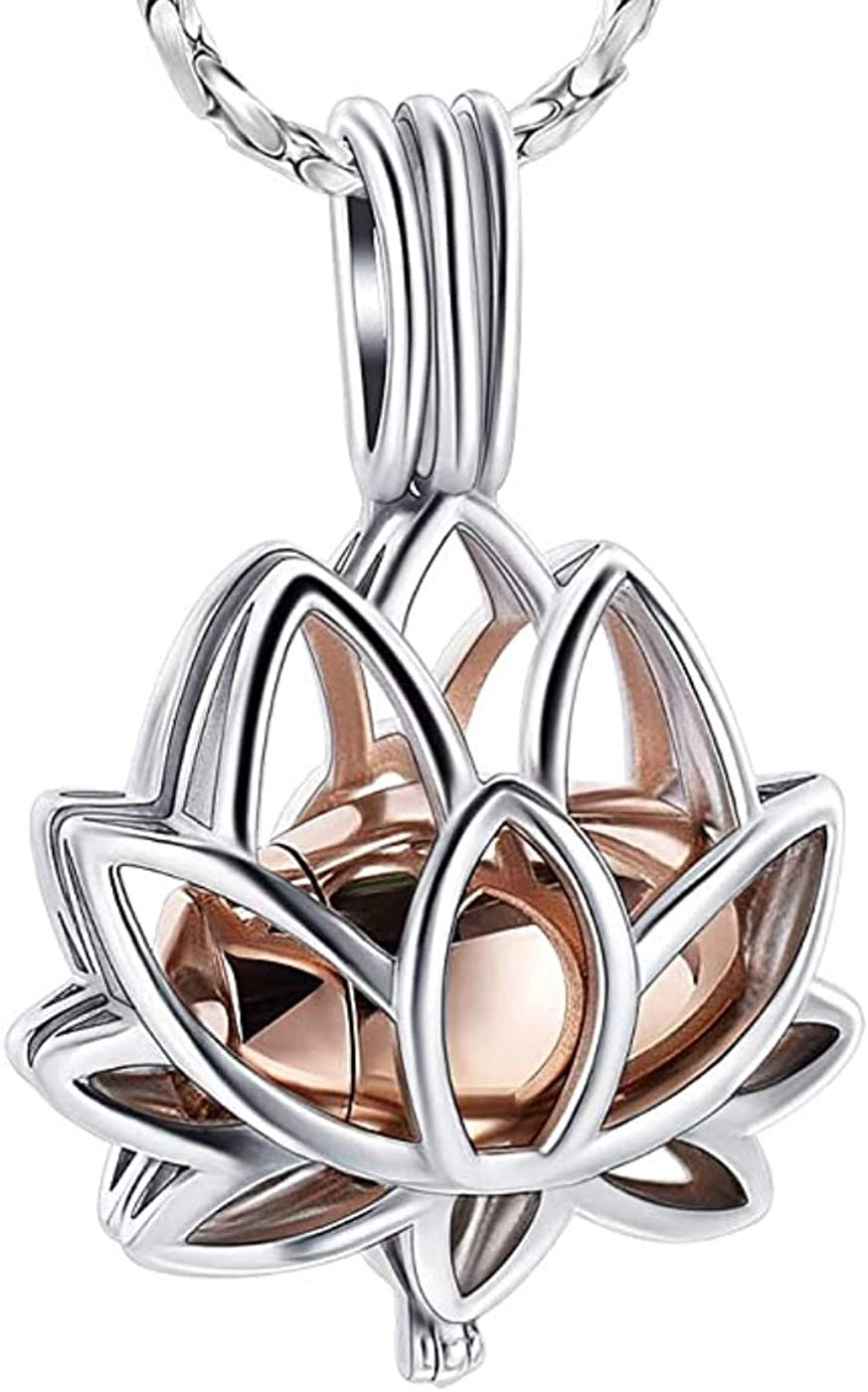 CoolJewelry Urn Necklace for Oklahoma City Mall Ashes Lotus Sale Special Price Pendan Cremation Flower