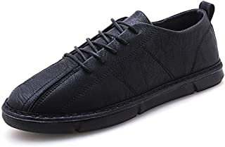AiHua Huang Athletic Shoes for Men Fashion Sports Shoes Lace Up Style Microfiber Leather Light and Soft (Color : Black, Size : 6 UK)