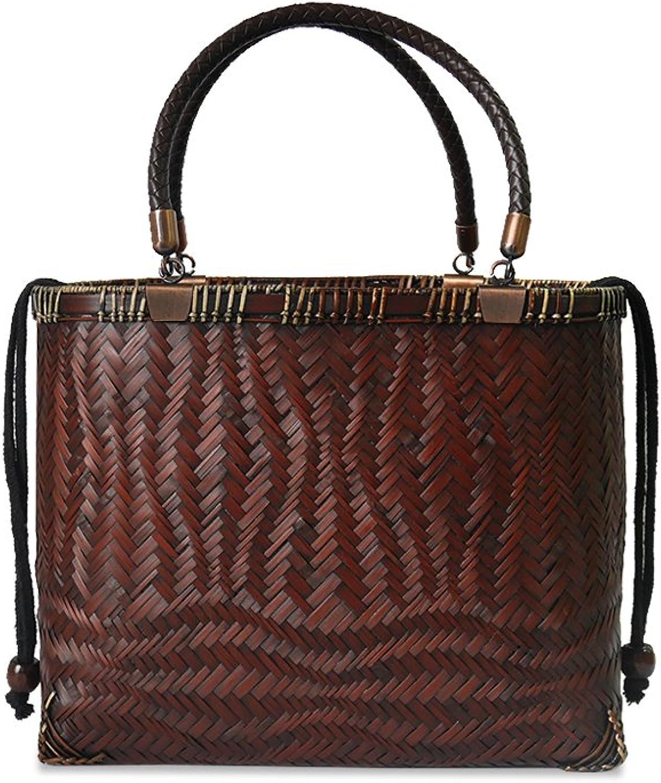 IUHA Traditional Natural Bamboo Basket Bag With Rattan Handle Large Capacity Daily Bag