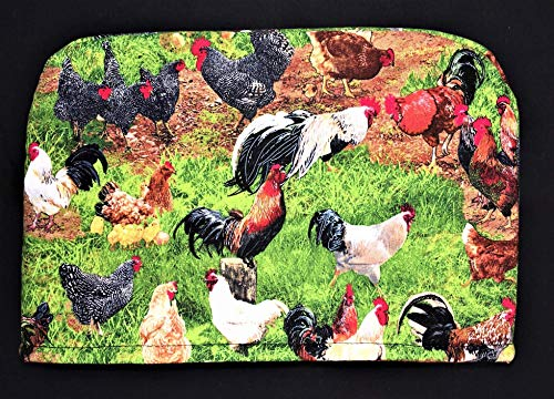 2 Slice Slot Chickens Chicks Roosters Farm Barnyard Green Reversible Appliance Toaster Dust Cover Cozy 11.5(l) x 7.5(h) x 5.5(w)