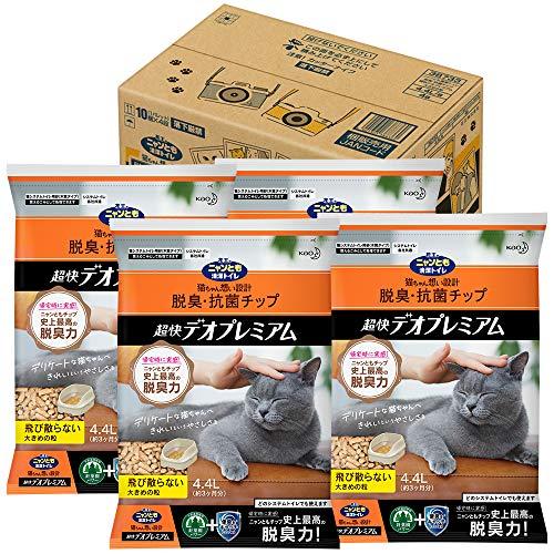 スマートマットライト ニャンとも清潔トイレ 猫砂 脱臭・抗菌チップ 超快デオプレミアム 大きめの粒4.4L×4個