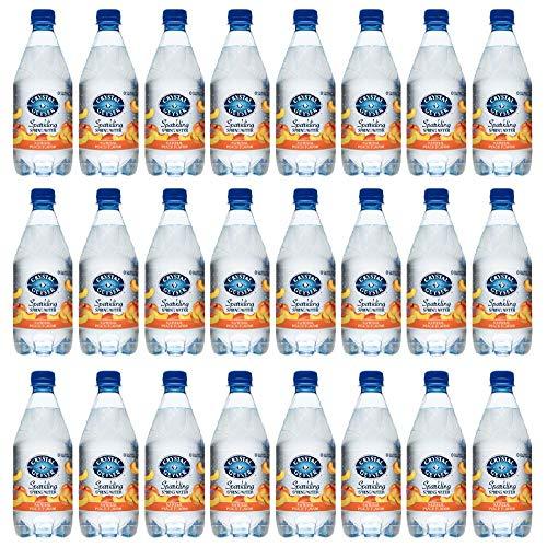 CRYSTAL GEYSER SINCE 1977 Peach Sparkling Spring Water PET Plastic Bottles, BPA Free, No Artificial Ingredients or Sweeteners, 18 Fl Oz, 24 Pack