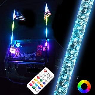 OMUOFFROAD 4FT LED Whip Lights 360° Twisted Antenna Dream Wrapped Dancing Whips For Polaris RZR ATV Antenna Whip UTV Quad Sand Dune Buggy Flag Poles For Trucks w/APP Control (Two Whip)