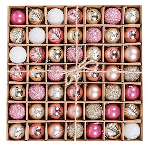 Victor's Workshop Weihnachtskugeln 49tlg. 3cm Plastik Christbaumkugeln Weihnachtsbaumschmuck Neujahr Weihnachtsdeko Frohe Weihnachten Rosa Gold