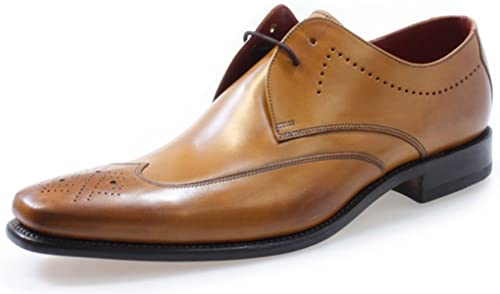 Loake Stitch Tan Leder Semi-Brogue Schuhe-UK 10