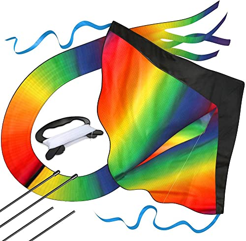 Huge Rainbow Kite for Kids Easy to Fly with Kites Safety Certificate for Outdoor Games and Activities, Easy to Assemb...