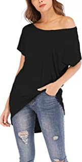 Womens Off Shoulder T Shirts Loose Casual Batwing Short Sleeve Oversize Blouse Tops