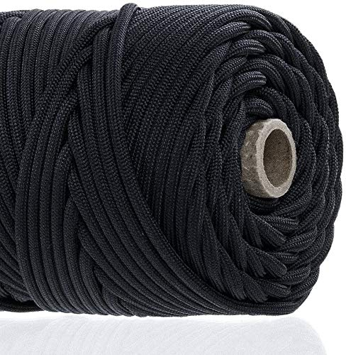 GOLBERG 750lb Paracord/Parachute Cord – US Military Grade – Authentic MilSpec Type IV 750 lb Tensile Strength Strong Paracord – MilC5040H – 100% Nylon – Made in USA Black 25 Feet