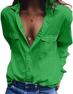 Women Casual V Neck Button Up Cuffed Sleeve Dress Shirt Blouse