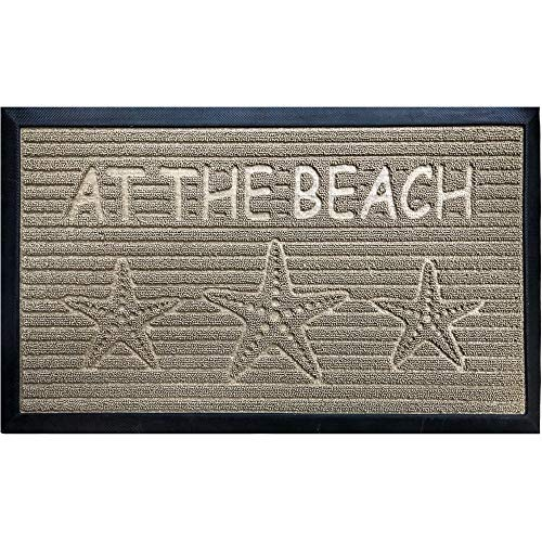 Gorilla Grip Original Durable Natural Rubber Door Mat, Waterproof, Low Profile, Heavy Duty Doormat for Indoor and Outdoor, Easy Clean, Rug Mats for Entry, Patio, Busy Areas, 17x29, Sand Beach