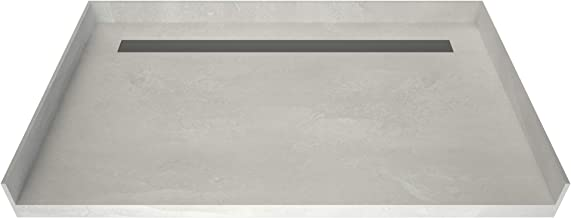 """Tile Redi USA RT3460CBFB-PVC-BN3 Redi Trench Barrier Free Pan with Back Solid Brushed Nickel Trench, 34"""" D x 60"""" W"""