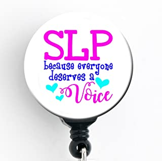 SLP Everyone Deserves a Voice - Retractable Badge Reel with Swivel Clip and Extra-Long 34 inch Cord - Badge Holder