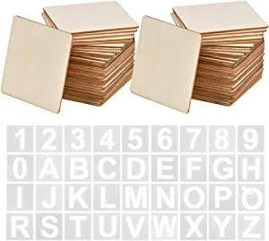 BUYGOO 80Pcs Unfinished Squares Wood Pieces, 4 x 4 Inch Square Wood Slices with 26Pcs Letters and 10Pcs Number Blank Natural Slices Wood for Scrabble Tile Wall Decor, Coasters, DIY Crafts Painting