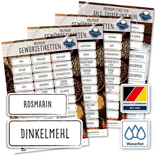 117 Gewürzetiketten Feinschmecker Edition XL – Gewürzaufkleber, Mehl Salz & Zucker wasserfest für Gläser, Dosen und Regale (schwarz/weiß)