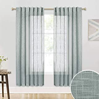 RYB HOME Semi Sheer Linen Wave Pattern Window Curtains, Privacy Draperies for Office/Farmhouse/Living Room/French Door Natural Light Glare Filtering, Grey, 52 in x 72 in Each, Set of 2