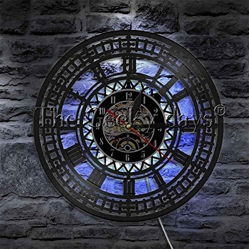 XYVXJ Big Ben Plate Clock London Westminster Reloj de Pared LED luz de Pared mesita de Noche Mural de luz de Pared para Regalos de Viajero de Londres y luz de Noche LED