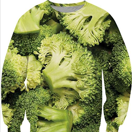 Herren Slim Fit Hoodie Langarm Kapuzenpullover 3D Druck Muster Brokkoli Sweatshirt Pullover, XL