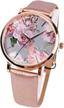 LONBUYS Women's Quartz Watch with Leather Strap,Waterproof Rose Gold Black Leather Band Wrist Watch Ladies Wristwatch for Dress Casual Business