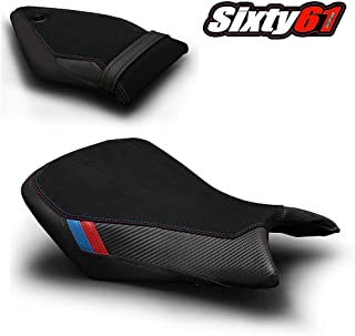 Luimoto Seat Covers for BMW S1000RR 2015 2016 2017 2018 Motorsports Black Red Blue, Suede and Carbon Fiber, Front Rear by Sixty61