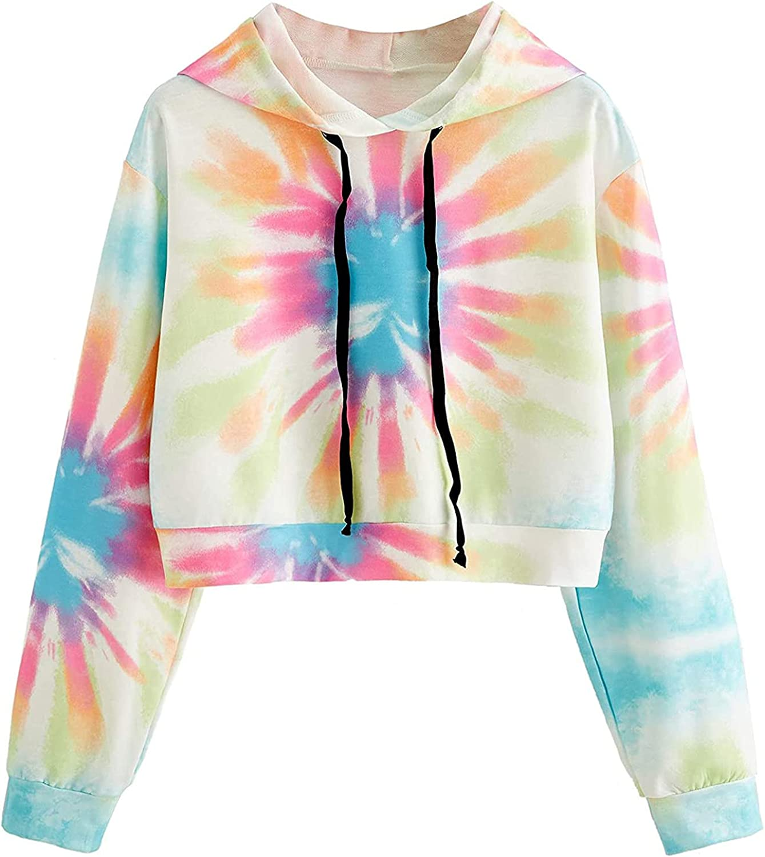 MASZONE Crop Hoodies for Teen Girls Trendy Long SleeveCasual Drawstring Hoodies Tie Dye Pullover Sweatshirt with Designs