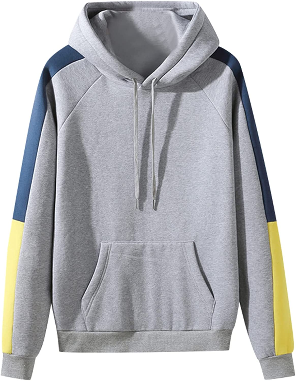 Huangse Hooded Shirt for Men Contrast Color Long Sleeve Kangaroo Pocket Sweatshirt Casual Loose Athletic Tops with Drawstring