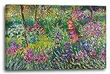 Impresión sobre lienzo (120x80cm): Claude Monet - El Jardín de los Iris en Give