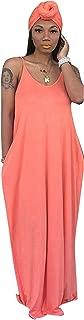 Casual Summer Maxi Dress Sleeveless Solid Long Beach Cami Maxi Dress with Headscarf