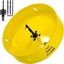 Acekit 6 1/2 inch Hole Saw With 7/16 Arbor HSS Bi-Metal Hole Saw Blade Strenthen Drill Bits And Variable Teeth Pitch For Wood,Ceiling,Plastic Board,Pipe,Plywood,And Soft Metal Sheet (165mm)