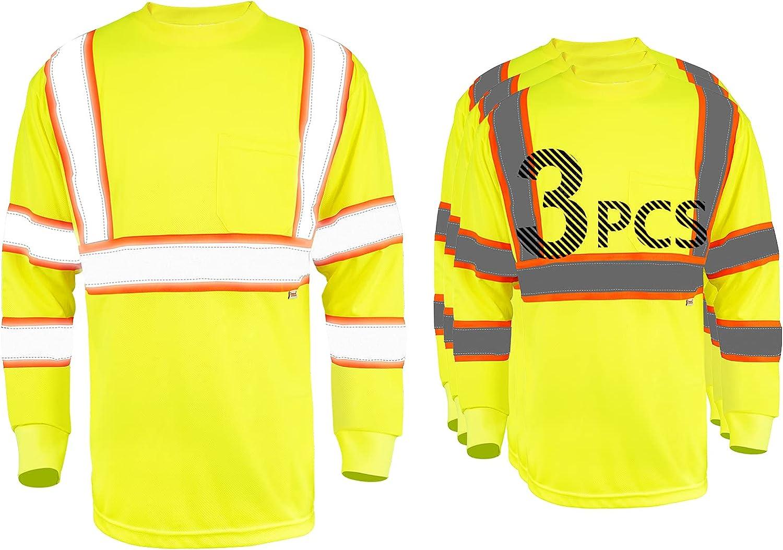 Pomerol Long Sleeve San Antonio Regular discount Mall Safety Shirt Pa Reflective High-Visibility 3