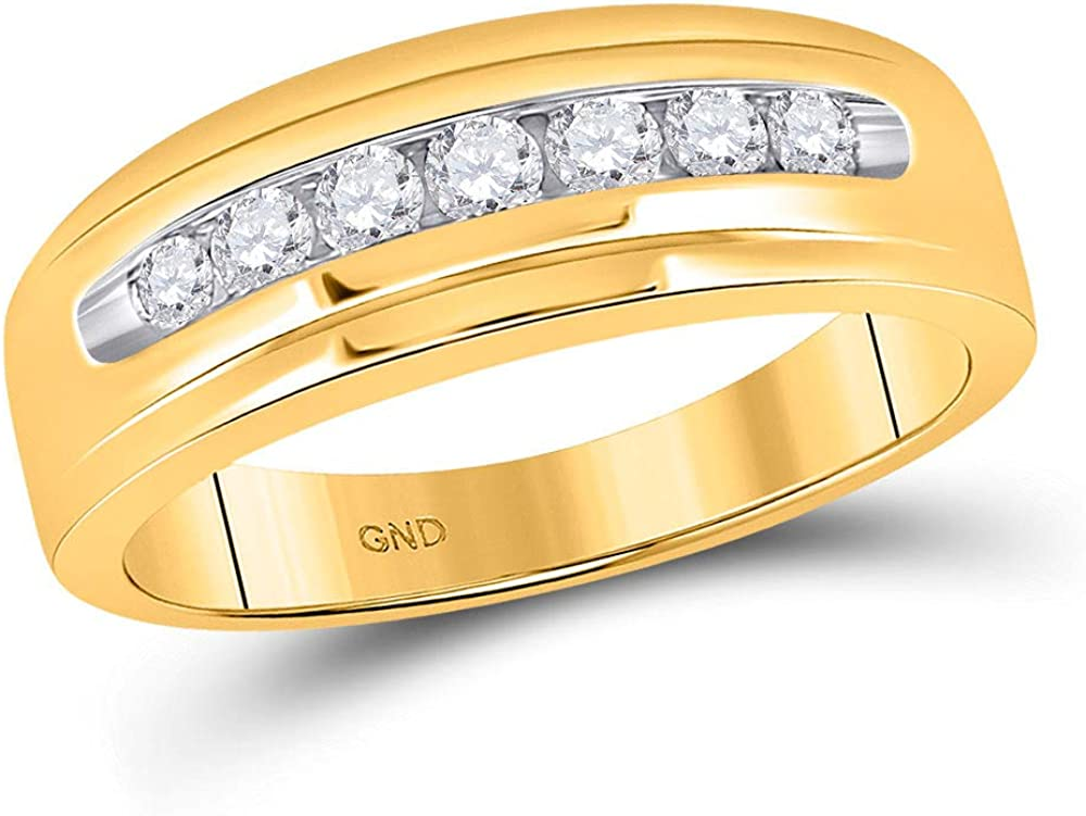 14kt Yellow Gold Mens Round Diamond Ring High order Single Band Super special price Row Wedding