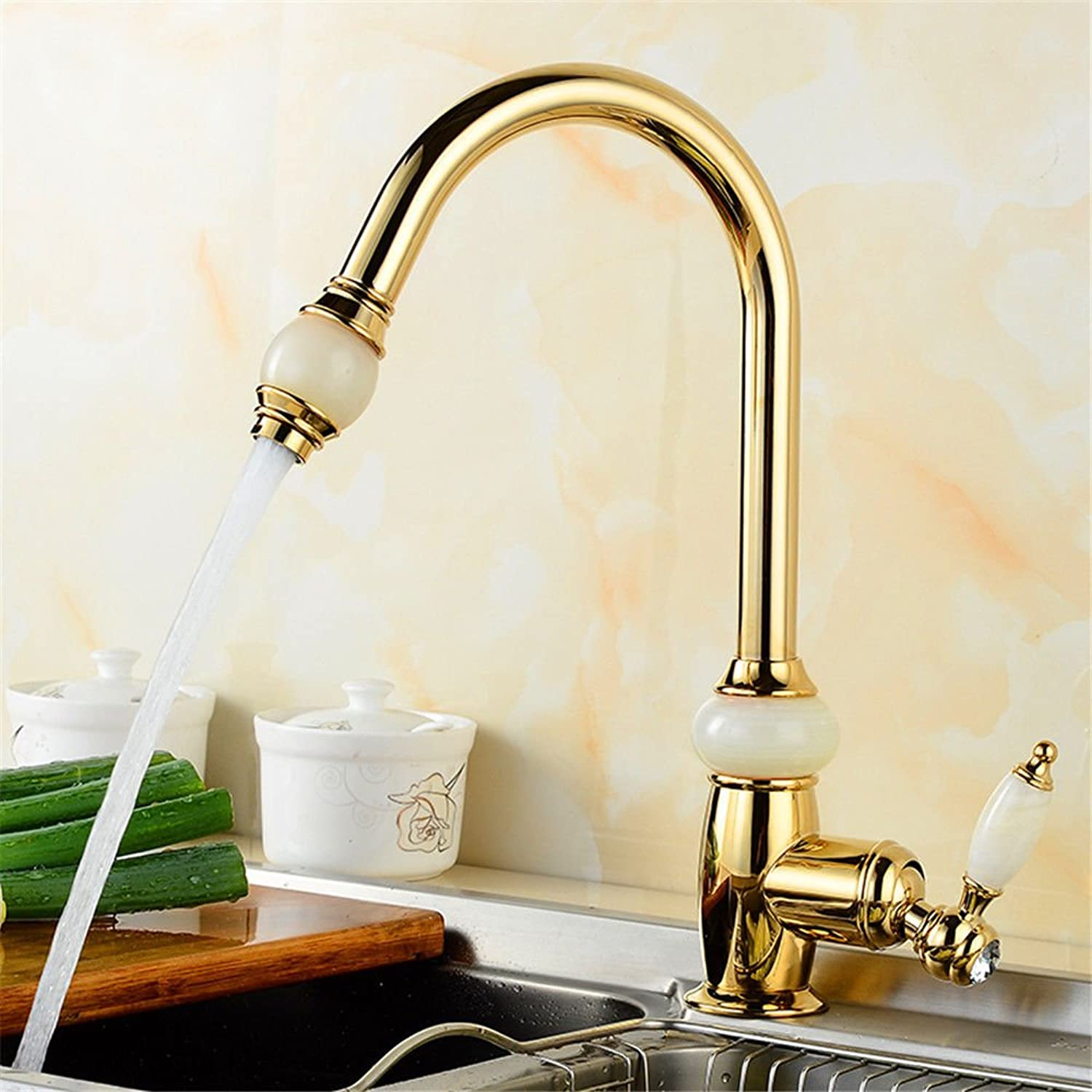 Pengei Tap Basin Mixer Kitchen Sink Mixer Faucet All Copper Pull Type gold Single Hole