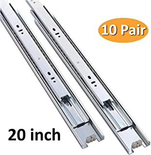 Cuaulans 10 Pair 20 inch Full Extension Side Mount Ball Bearing Sliding Drawer Slides, Mounting Screws Included, Available in 10 inch, 12 inch, 14 inch, 16 inch, 18 inch, 20 inch and 22 inch Lengths