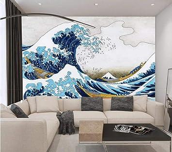 3d Wall Mural Wallpaper Blue Ocean Wave Sea Retro Wallpaper For Walls Living Room Bedroom Tv Background Decorating Wall Art 200cmx140cm Amazon Com