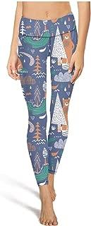 juiertj rt Long Hiking Cartoon Teepee Bear Forest Leggings Pretty Women Sweat-Wicking Sweatpants Pants for Yoga