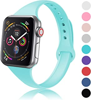 DYKEISS Sport Slim Silicone Band Compatible with Apple Watch 38mm 42mm 40mm 44mm, Thin Soft Narrow Replacement Strap Wristband Accessory for iWatch Series 1/2/3/4 42mm/44mm Turquoise