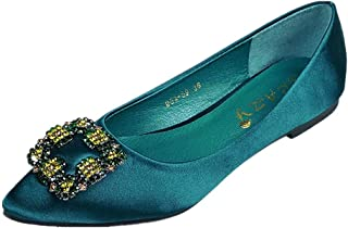 ANBEI Women's Pointy Toe Ballet Flats Office Comfortable Work Shoes Rhinestone