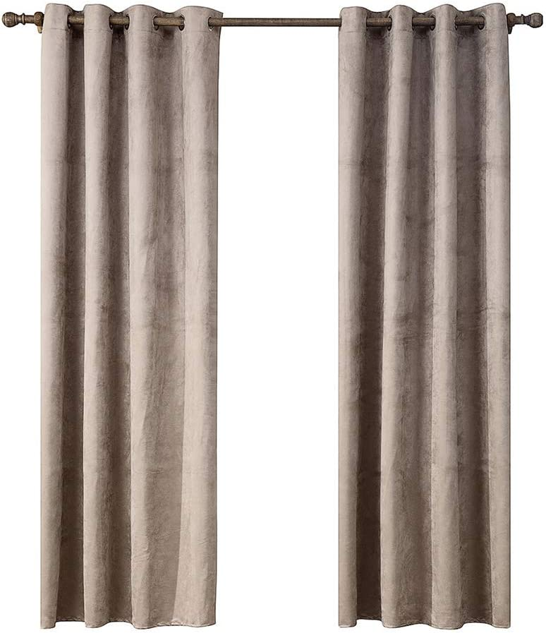 SIMPVALE 2 Panels Eyelet Semi-Blackout Curtain for Bedroom 140x160cm Thermal Insulated Window Treatments Curtain for Children /& Nursery Black Super Soft Suede Surface Drapes for Livingroom