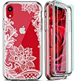 FIRMGE for iPhone XR Case, with 2 x Tempered Glass Screen Protector 360 Full-Body Coverage Hard PC TPU Silicone 3 in 1 Military Grade Heavy Duty Shockproof Phone Protective Cover- Clear Lace Mandala