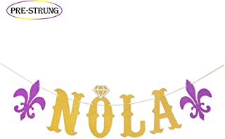 NOLA Gold Glitter Banner for New Orleans Bachelorette Party | Mardi Gras Theme Bachelorette Banner | Nola Bachelorette Decorations
