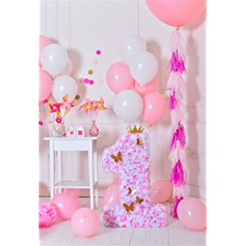 Amazon Com Lfeey 5x7ft Happy First Birthday Party Background For Photos Baby Room Decor Wallpaper Girls Little Princess Cake Smash Photo Shoot Happy 1st Birthday Backdrop Photo Studio Props Camera