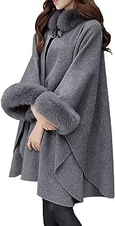 Women's Elegant Baggy Faux Fur Collar Wool Cape Cloak Coat Overcoat