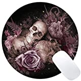 Wknoon Vintage Pink Rose Skull Design Round Mouse Pad Retro Floral Skull Circular Mouse Pads