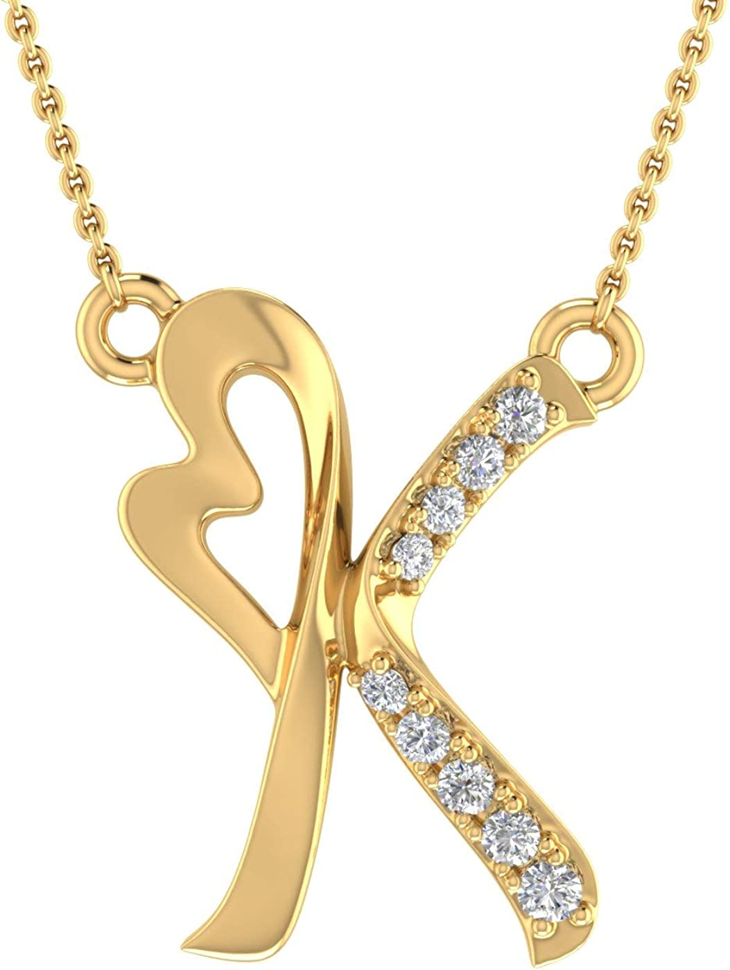 Diamond Initial Letter Pendant Necklace Free shipping in Fresno Mall Gold 10K Yellow with