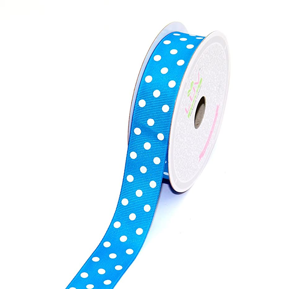 LUV RIBBONS 7/8-Inch Grosgrain White Polkadots Ribbon by Creative Ideas, 10-Yard Turquoise