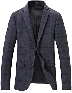 WAWAYA Men All Two Button Turn Down Collar Slim Winter Business Plaid Print Wool-Outerwear-Coats