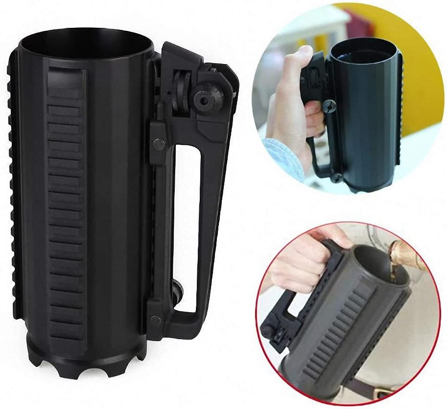 Tactical Multifunction Mug Aluminum Beer Cup with Rail and Rear Handle Combat Cup Detachable
