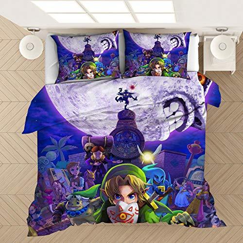 ZPYHJS The Legend of Zelda Juego de Ropa de Cama con Funda nórdica de animación 3D para niños, Cama Individual para niños, Cama Doble, Funda nórdica Suave y cómoda-E_173x218cm (3pcs)