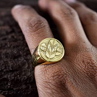Men's Signet Ring 925 Sterling Silver Jewelry Men's Yellow Gold Jewelry Coat of Arms Signet Ring Family Crest Ring Handmade Vermeil Gold Ring