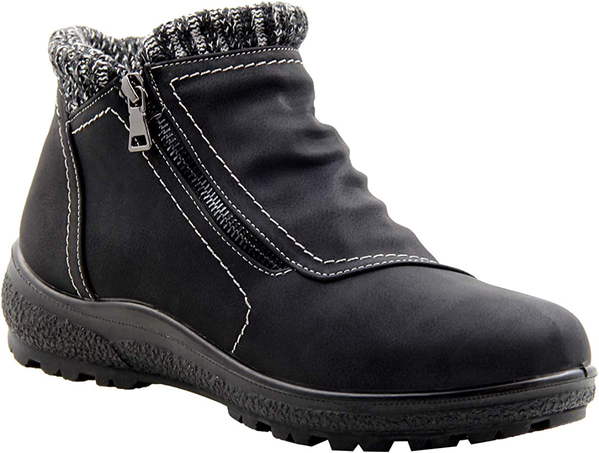 Stylish & Comfort Women's Interioir Fully Fur Lined Classic Mid Caff Winter Boots Zipper Up Warm Water Resistent Snow Shoes